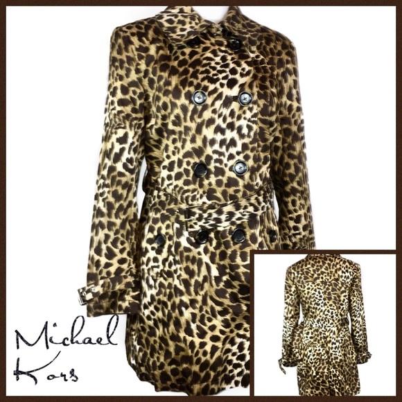 bfff58e19a9e Michael Kors Jackets & Coats | Leopard Print Trench Coat Size L ...